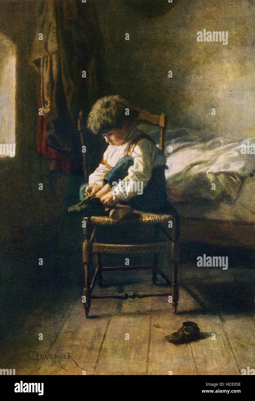 This image, titled 'Alone,' was painted by the French artist Theophile Emanuel Duverger (1821-1894). Duverger - Stock Image