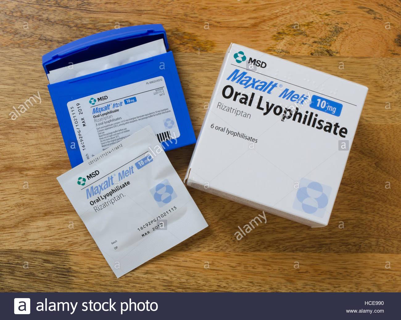 Packshot of Maxalt Melt  10mg Oral Lyophilisate Rizatriptan tablets. A triptan medication for migraine pain headache - Stock Image