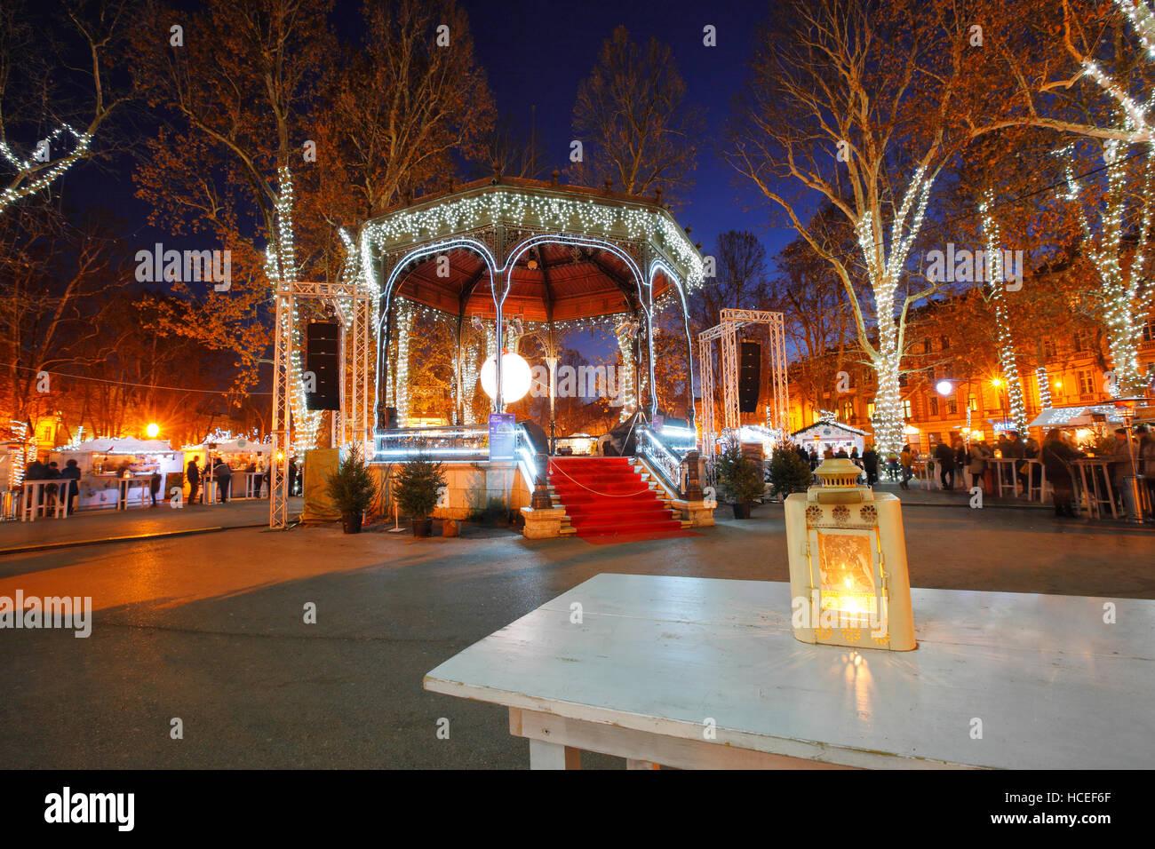 Illuminated Park Zrinjevac At Night In Christmas In Zagreb Stock Photo Alamy