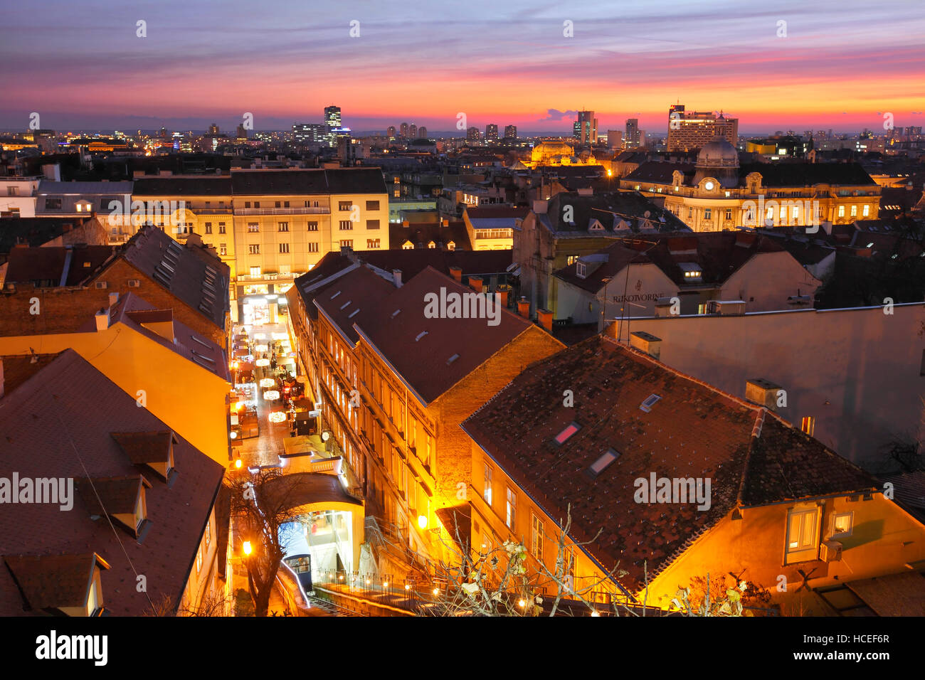 Zagreb city sunset skyline.View from upper town to downtown - Stock Image