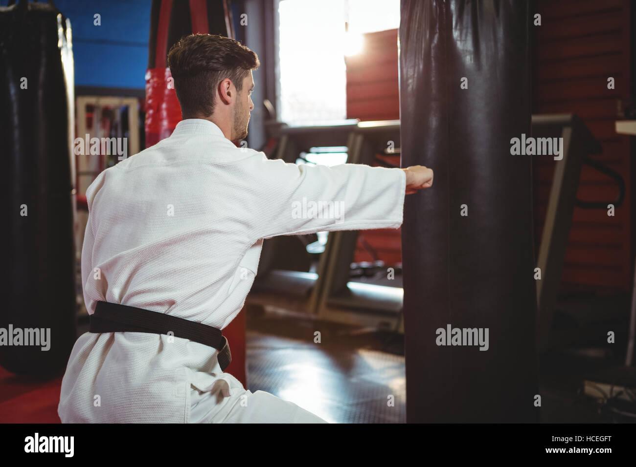 Karate player punching a boxing bag - Stock Image