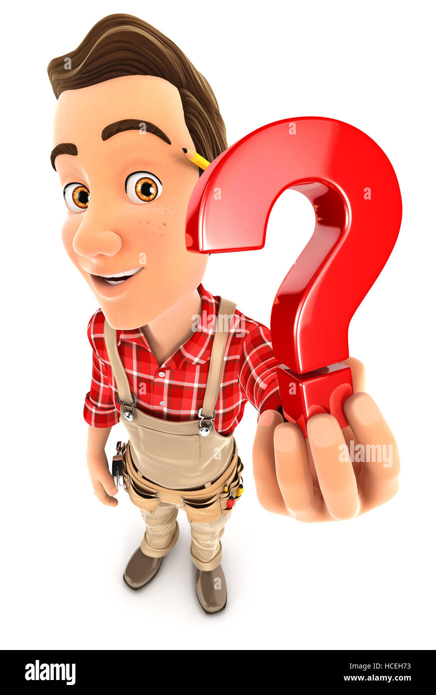 3d handyman holding a question mark icon, illustration with isolated white background Stock Photo