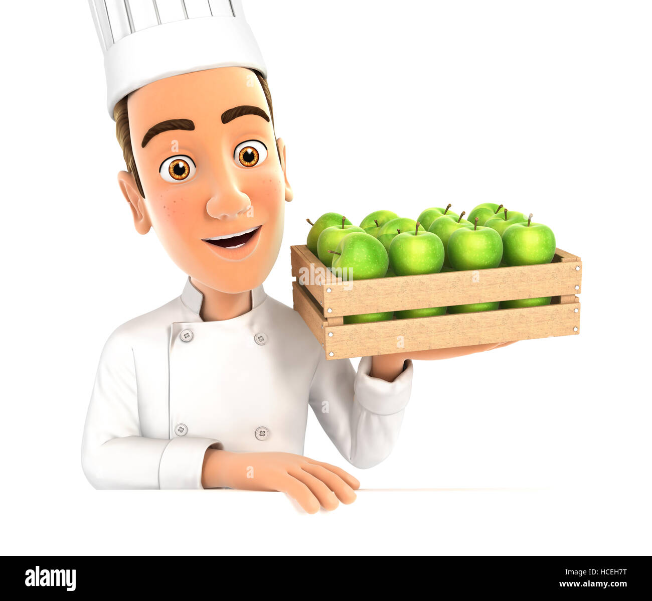3d head chef holding wooden crate of apples, illustration with isolated white background Stock Photo