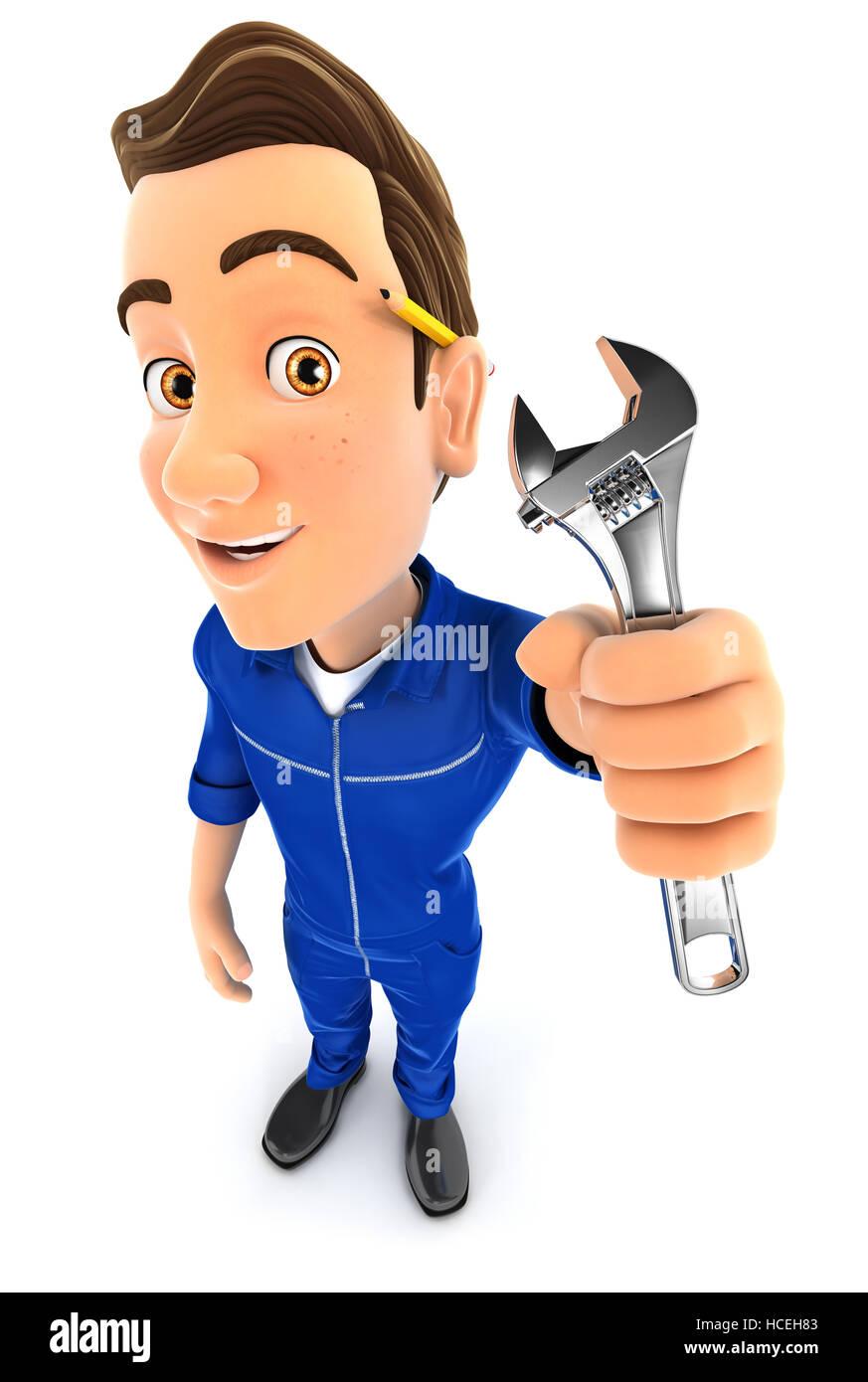 3d mechanic holding adjustable wrench, illustration with isolated white background Stock Photo