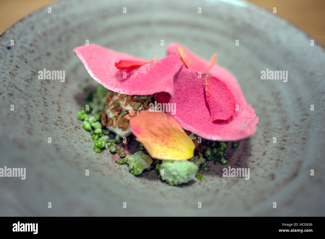 Fine Dining, Modern Cuisine on Stoneware. Shot from above - Stock Image