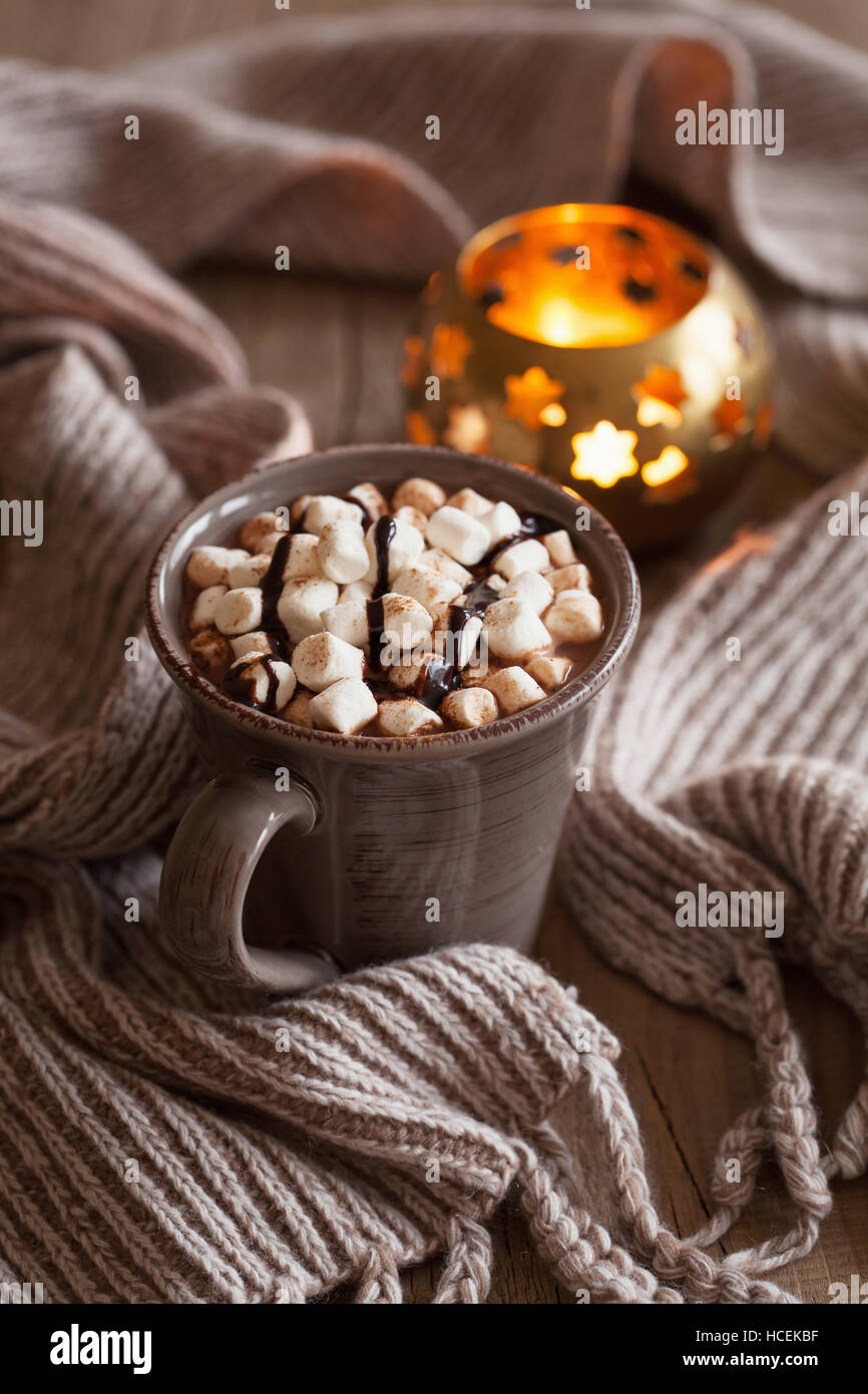 hot chocolate with mini marshmallows warming drink - Stock Image