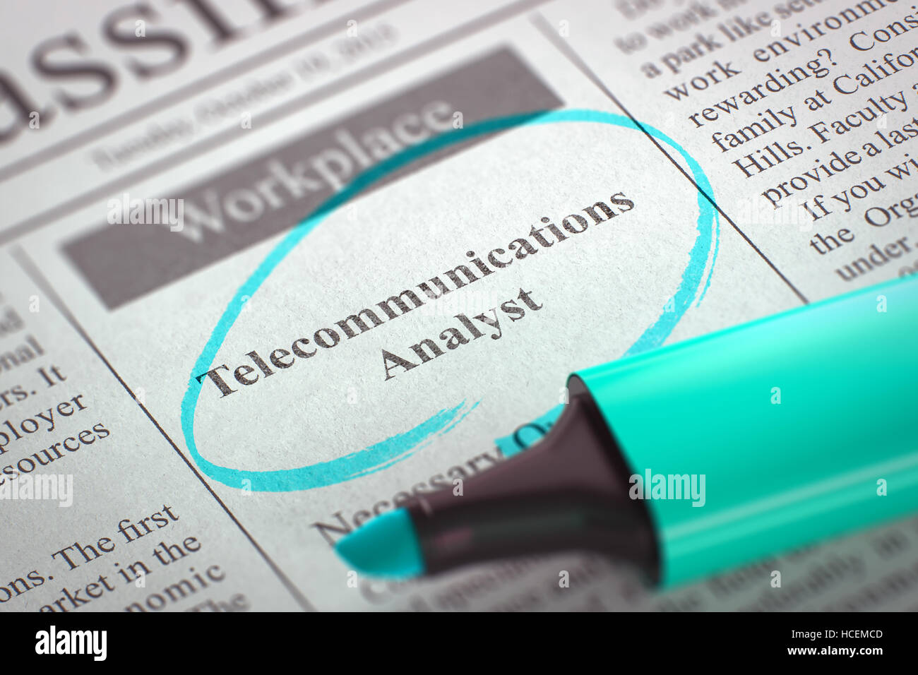 Telecommunications Analyst Join Our Team. 3D. - Stock Image