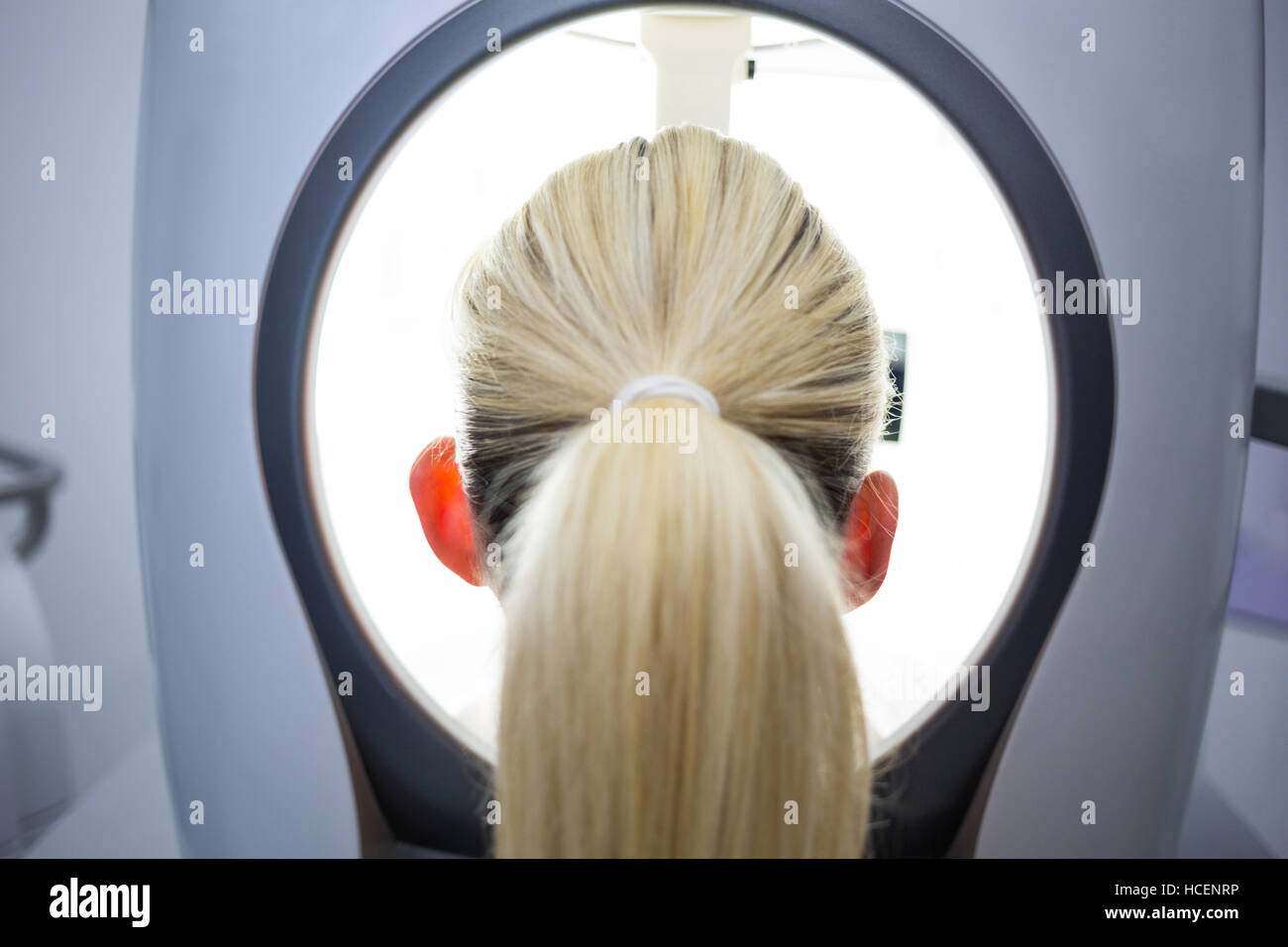 Woman receiving aesthetic laser scan - Stock Image