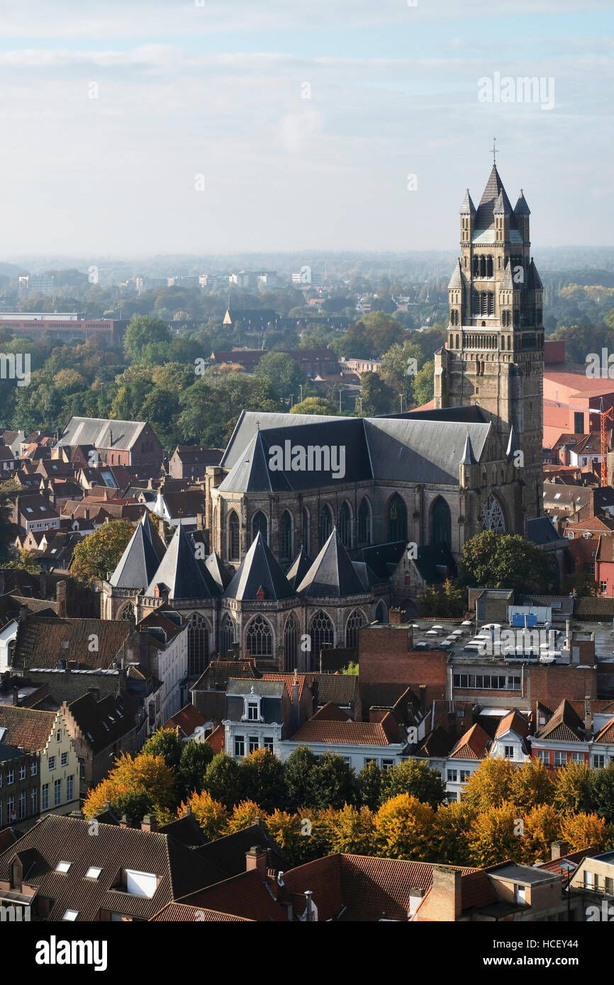 Bruges, Brussels. High level view (from Belfort) of Holy Saviour Cathedral, also known as San Salvator's Cathedral, - Stock Image