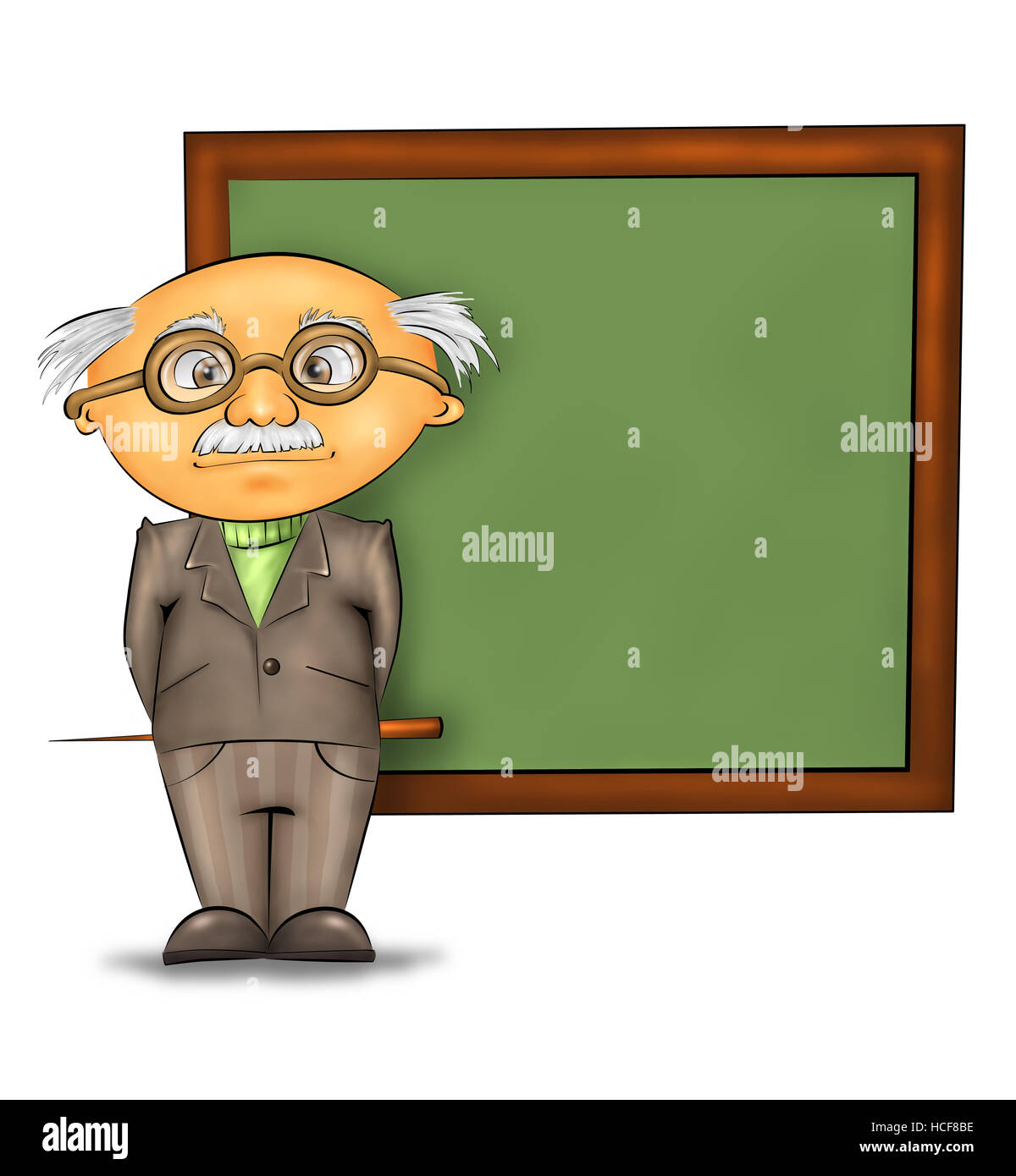 funny cartoon professor standing by the blackboard against white background - Stock Image