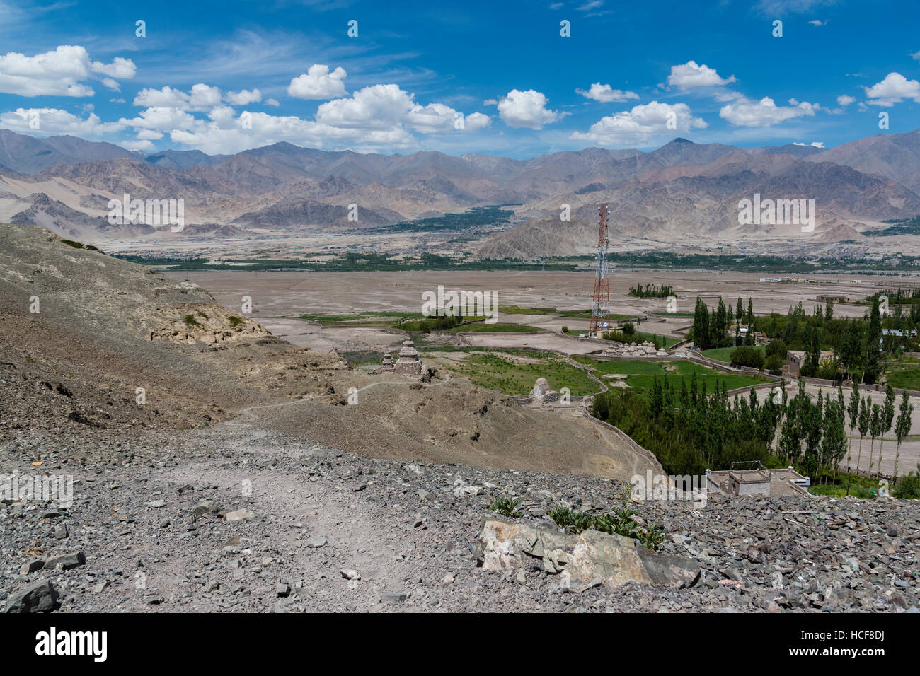 Ladakh landscape showing human settlement and Himalayan mountains in the background - Stock Image