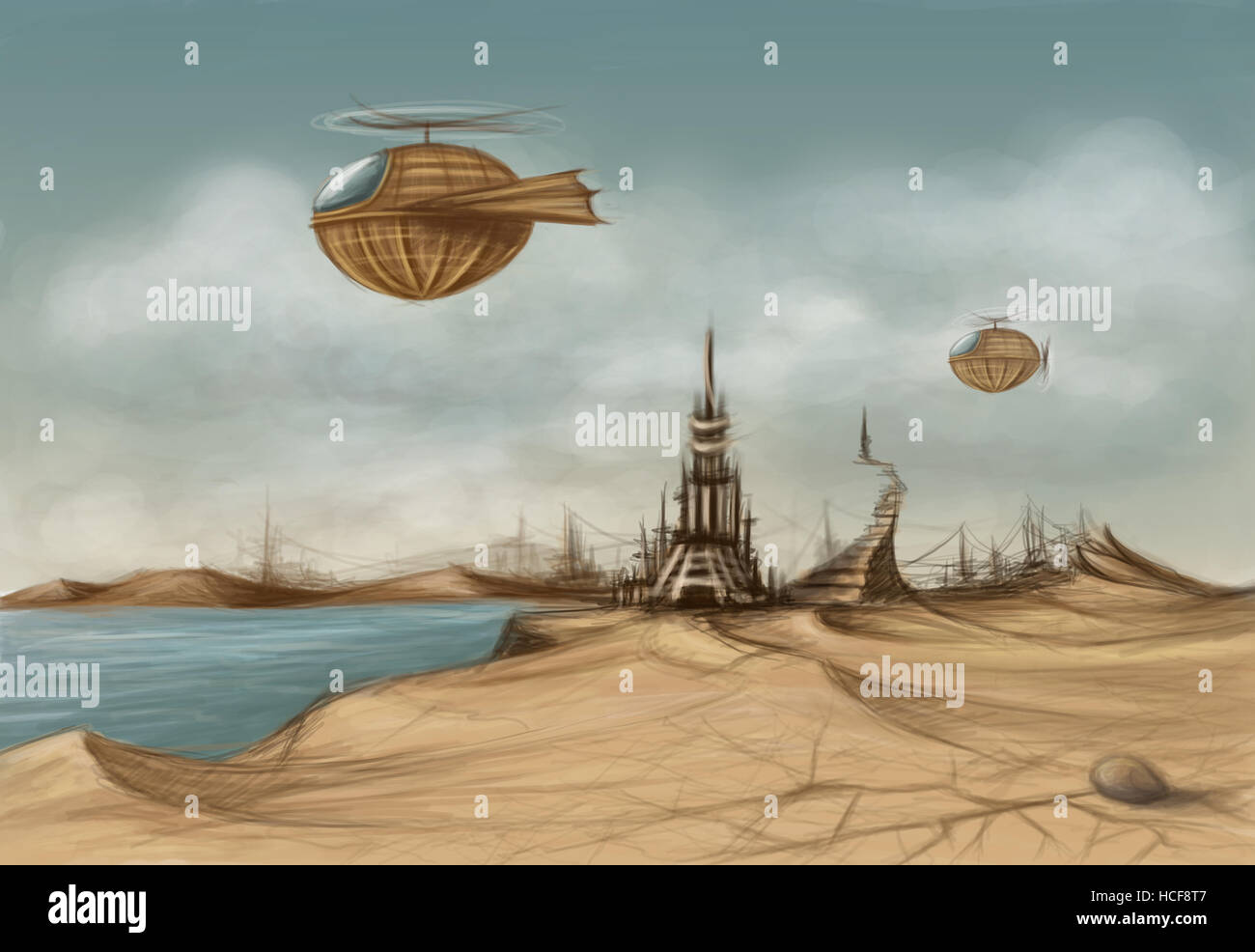 fantasy landscape with a decaying tower and dirigibles in the sky - Stock Image