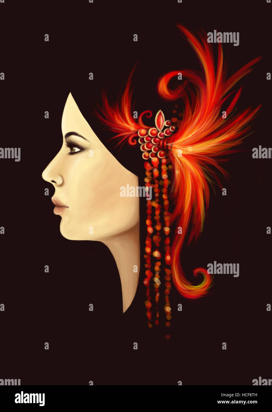profile portrait of a woman with a fascinator in her hair - Stock Image