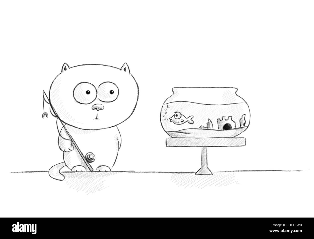 pencil sketch of a lovely white kitty looking curiously at a fish - Stock Image