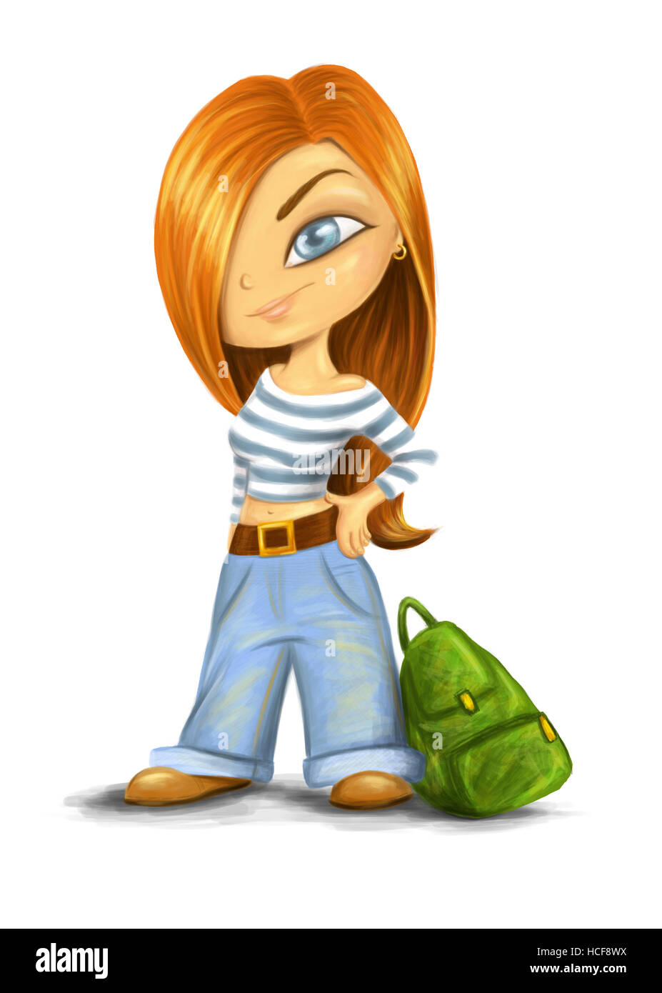 picture of a nice red-haired girl wearing jeans and a stripey top - Stock Image