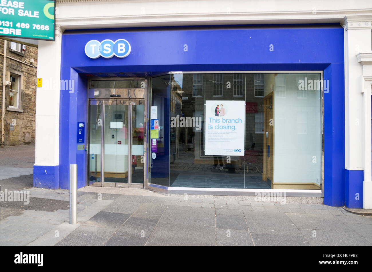 'This branch is closing' sign for a branch of TSB Bank, - Stock Image