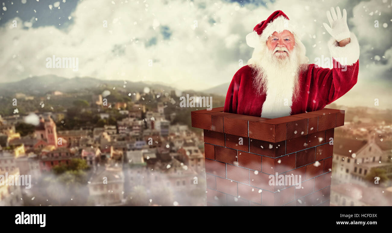 Composite image of jolly santa waving at camera - Stock Image
