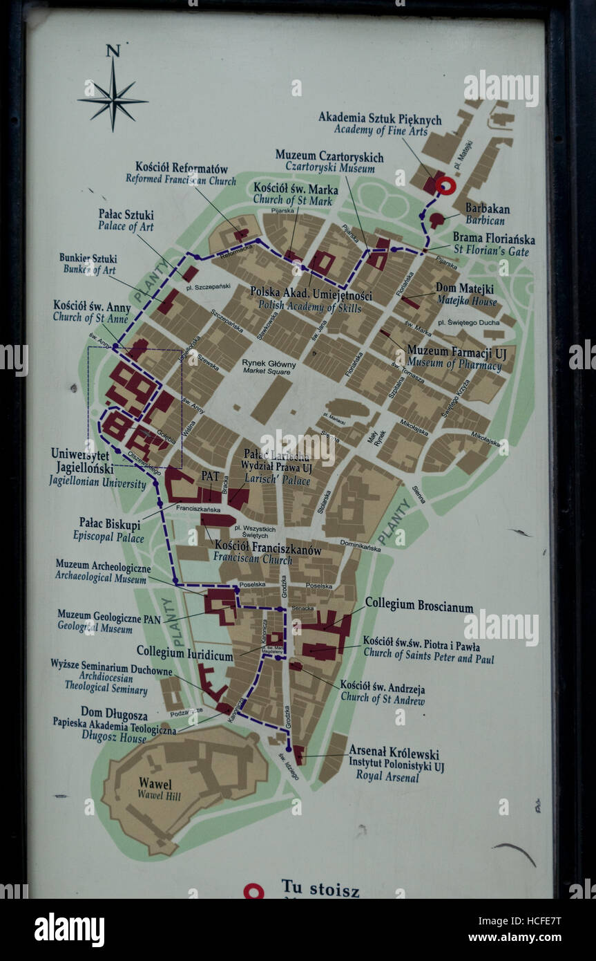 A tourist map showing the local attractions around Krakow Old Town