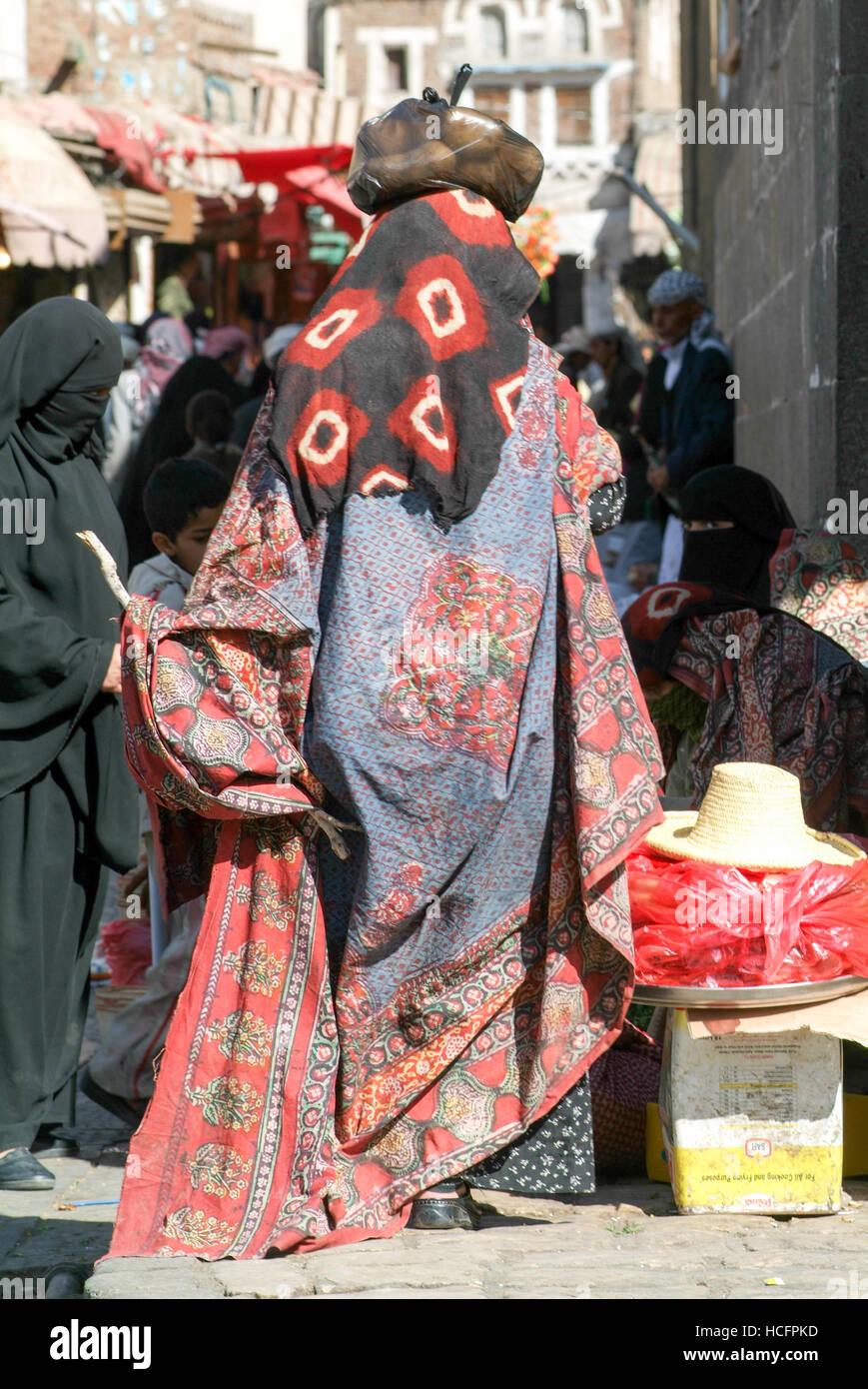 Sana, Yemen - 19 January 2008: women wearing the burqa and walking on the market of old Sana on Yemen - Stock Image