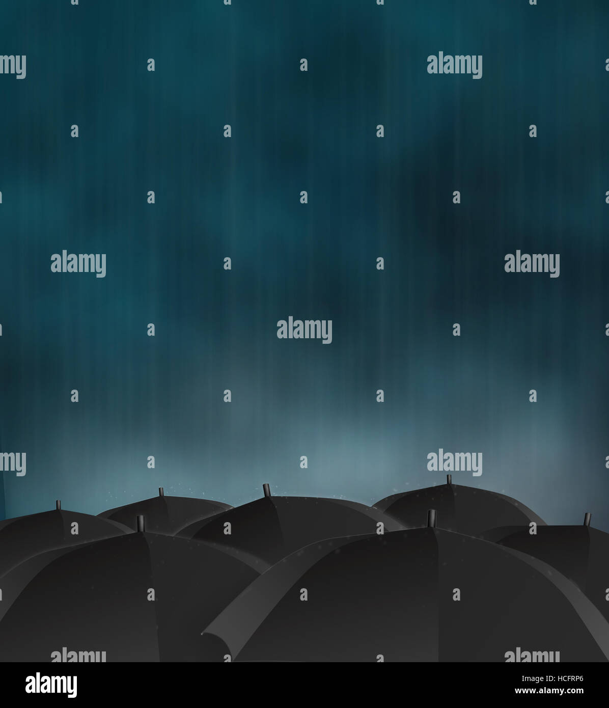 gloomy picture of dark rainy sky and black umbrellas - Stock Image