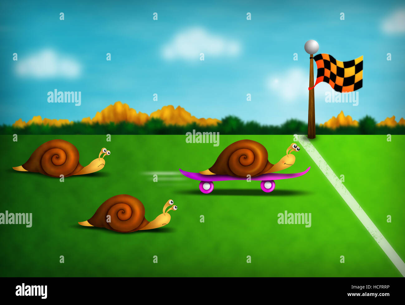 funny colorful illustration with racing snails including one outrageous cheat - Stock Image