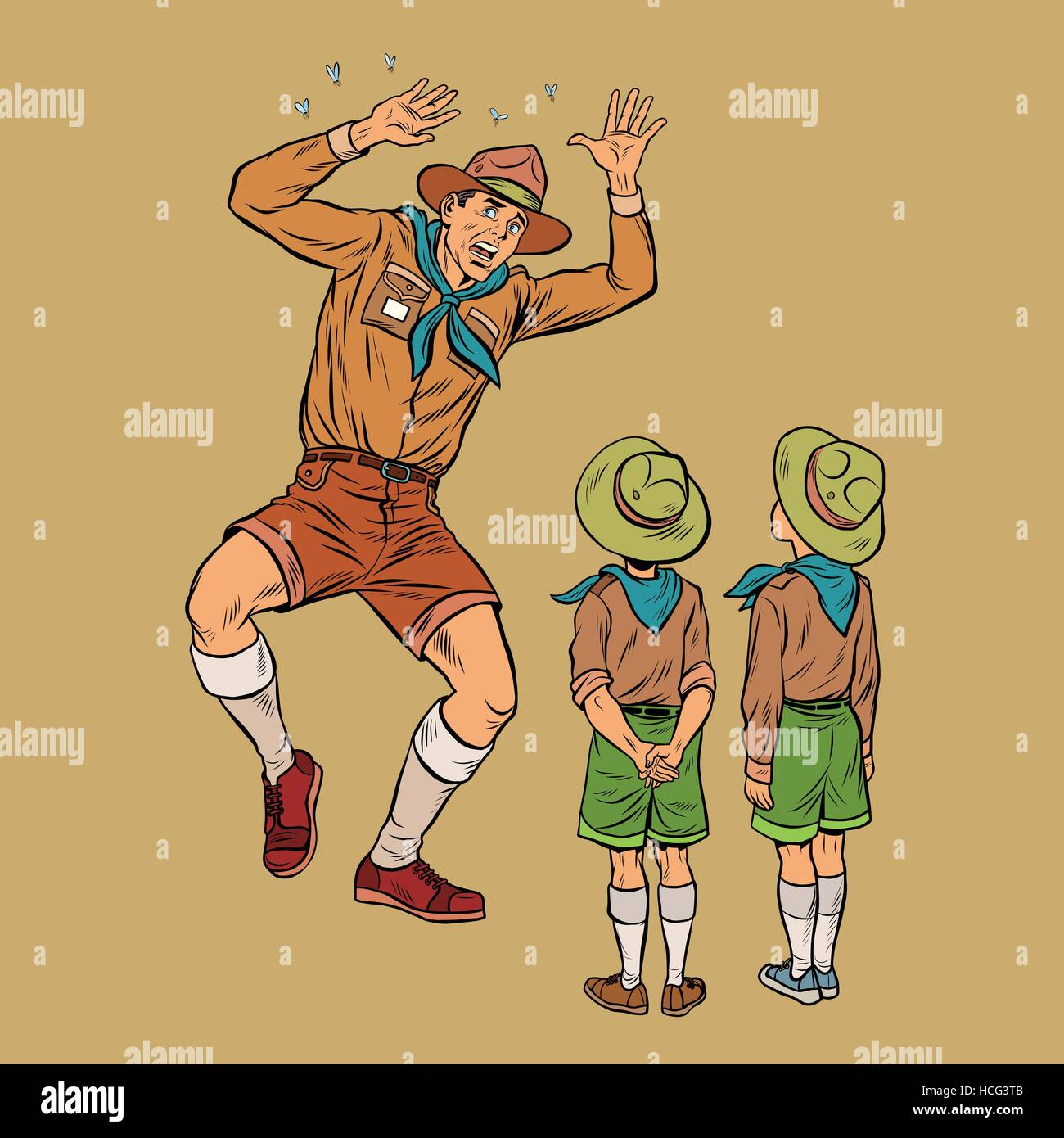 The scoutmaster is afraid of insects - Stock Vector