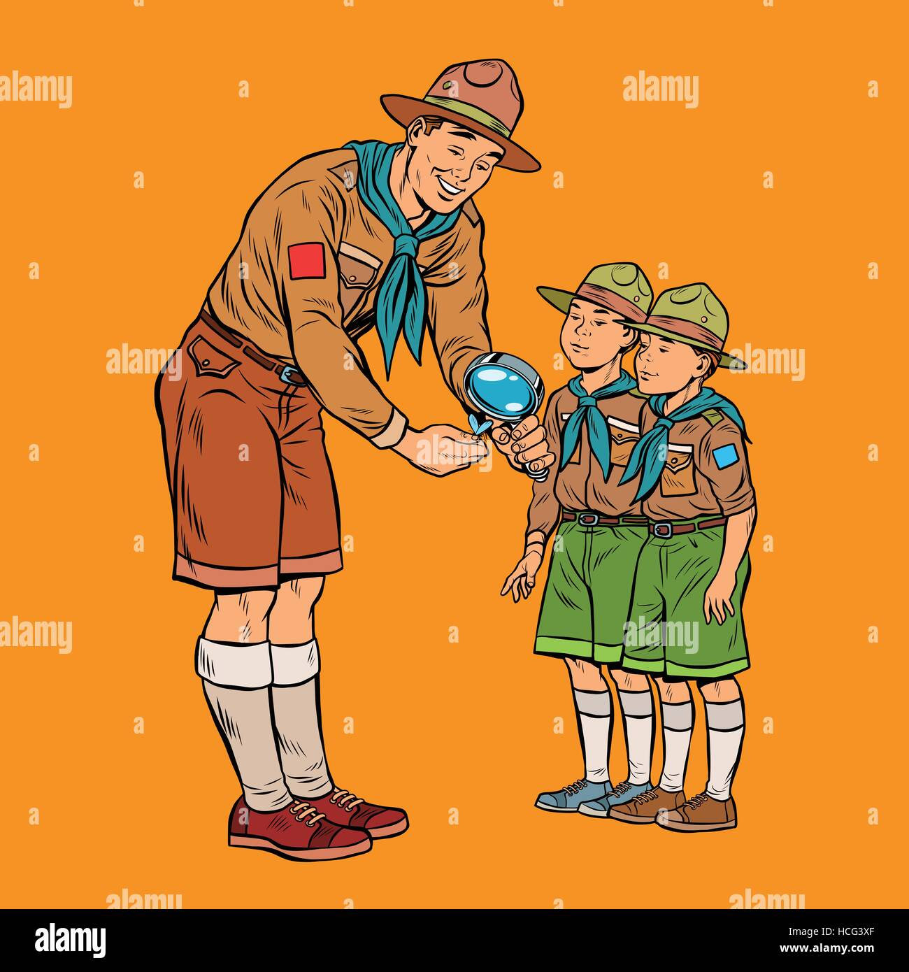 scoutmaster shows little insect to young scouts - Stock Vector