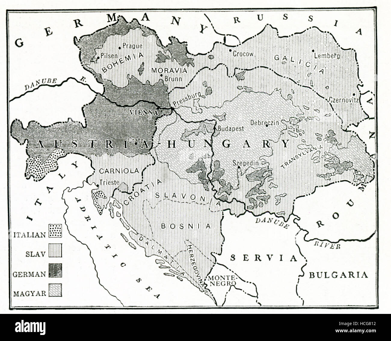 This map dates to 1917, the time of the First World War, and shows the intricate racial distribution (Italian, Slav, - Stock Image