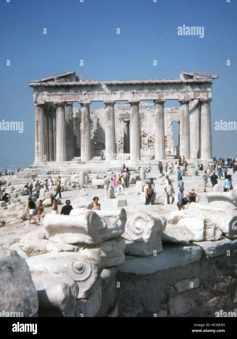 This photo, taken around 1990, shows a front view of the Acropolis in Athens, Greece. The Acropolis in Athens, Greece, - Stock Image