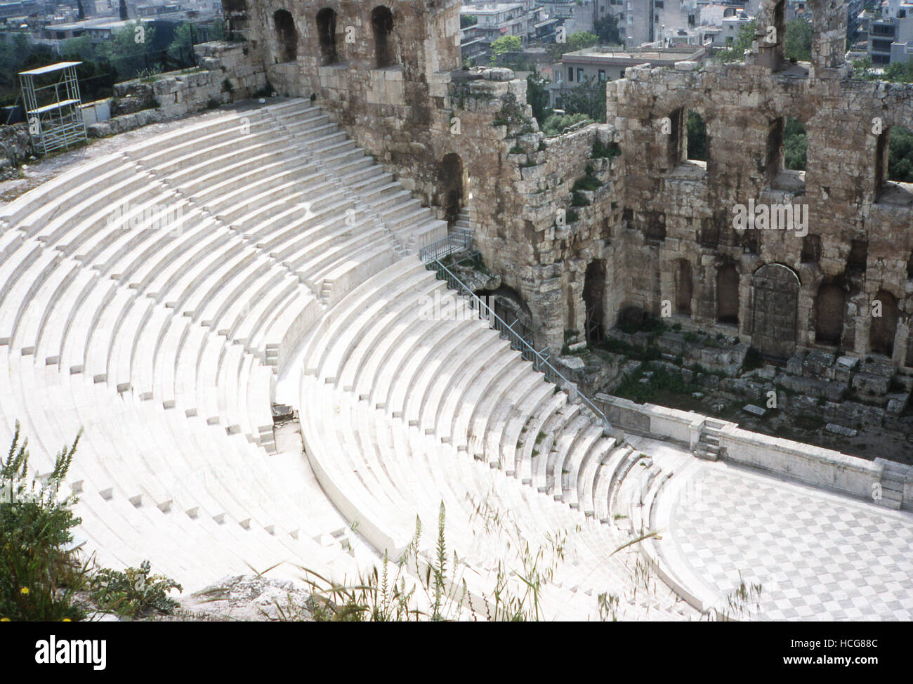 This photo, taken around 1990, shows a frontview of the Acropolis Theater in Athens, Greece. The theater is known Stock Photo