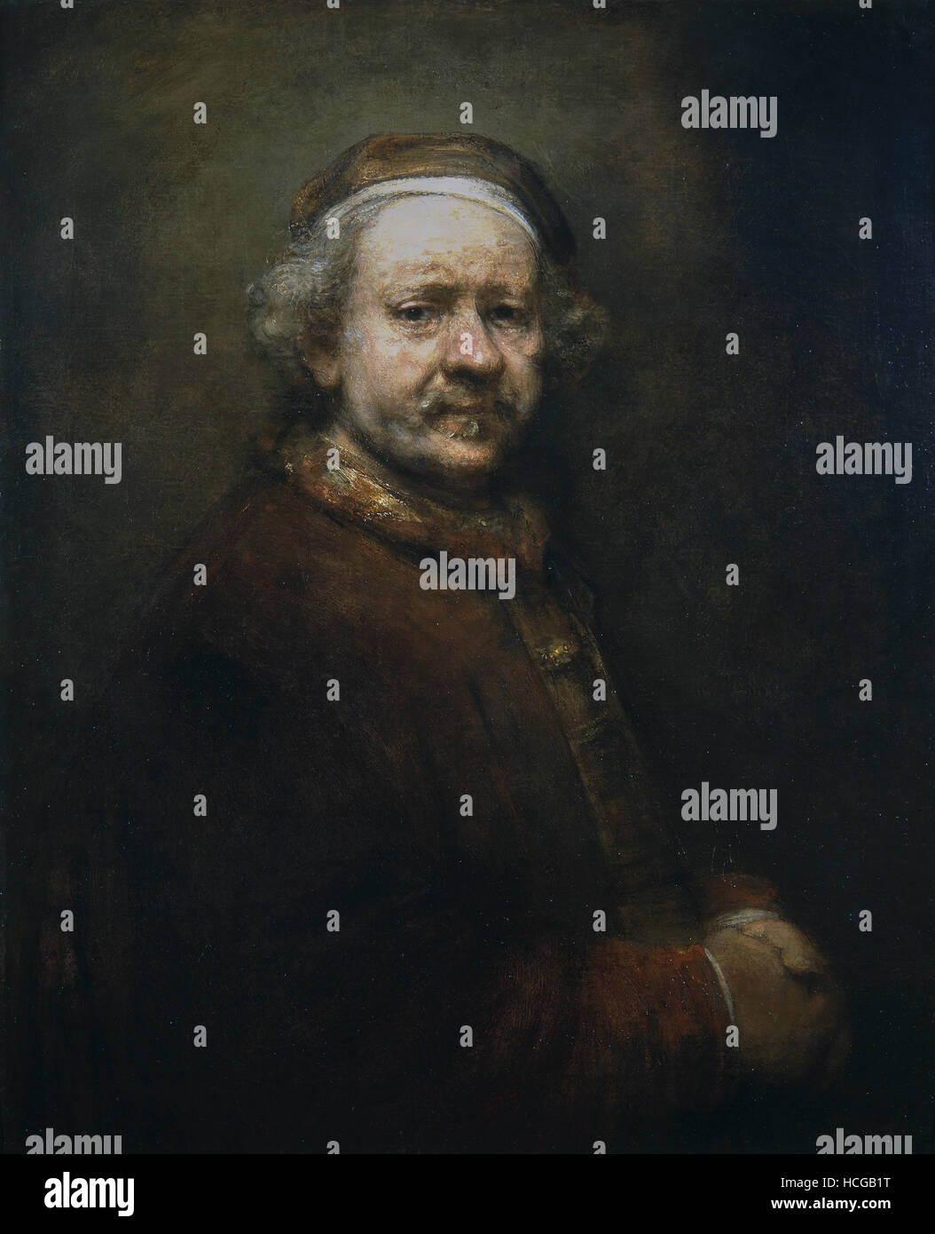 Harmensz Rembrandt - Self Portrait at the Age of 63 - 1669 - Stock Image