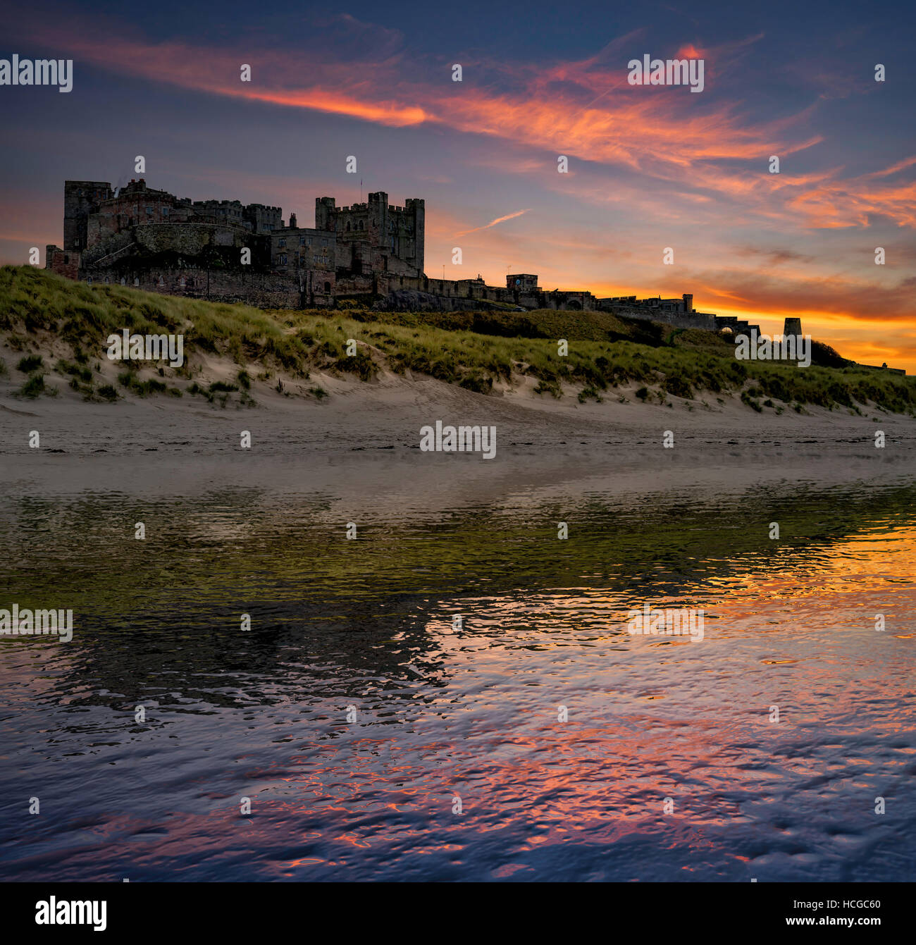 Bamburgh Castle, Northumberland - Stock Image
