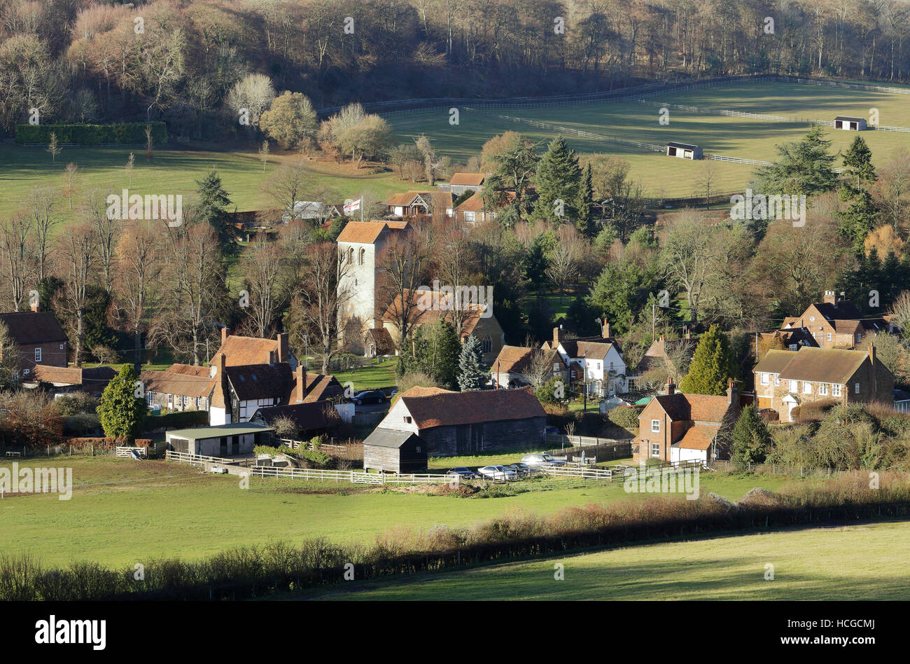 English Landscape overlooking the Hamlet of Fingest in the Chiltern Hills - Stock Image