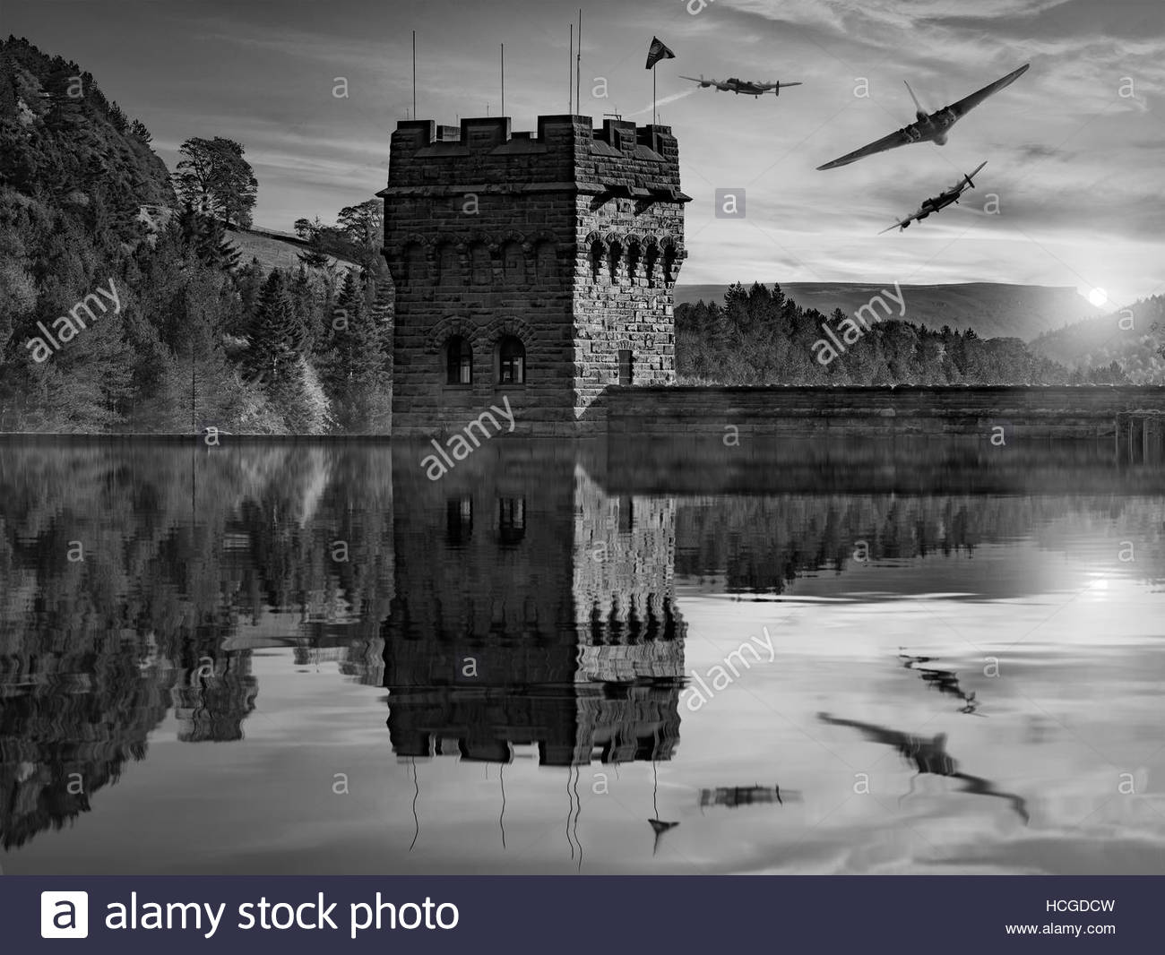 Lancaster and Vulcan Bombers over the Derwent Dam - Stock Image
