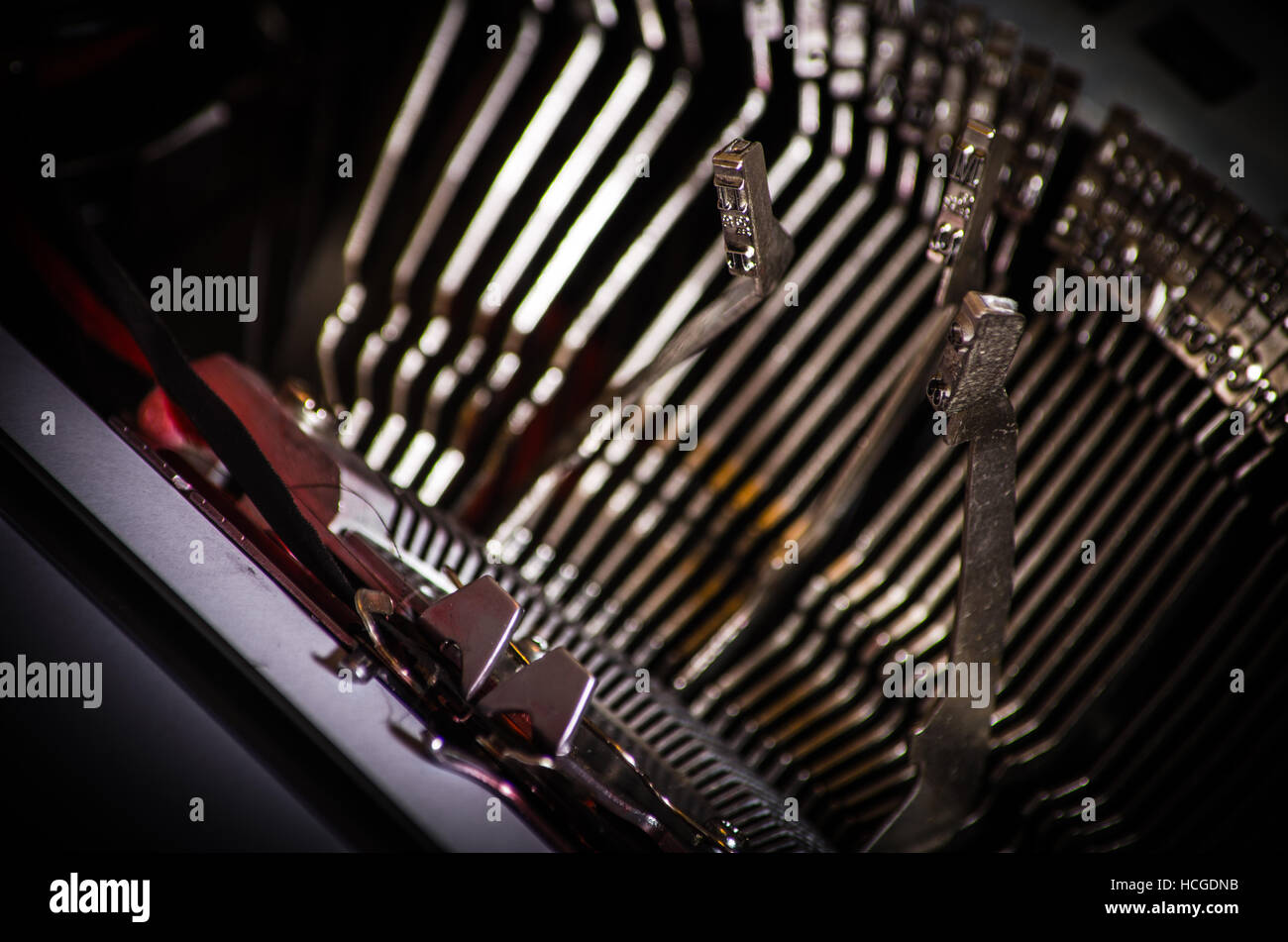 Close up of the letters on an old typewriter. - Stock Image