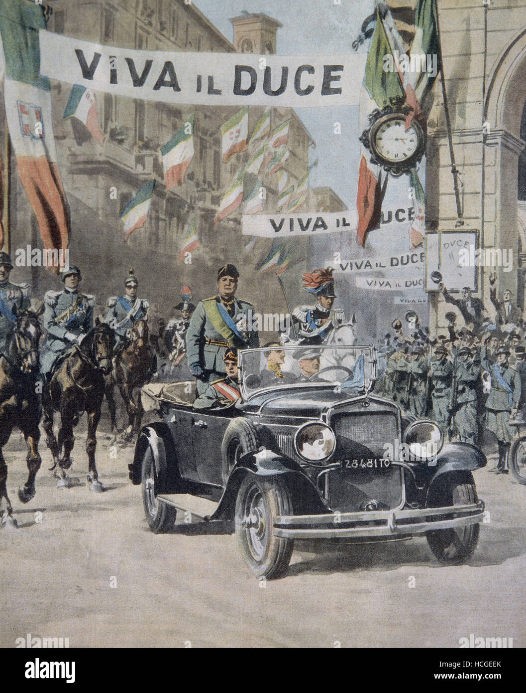 Triumphant arrival of Mussolini in Turin - 1932 - Stock Image