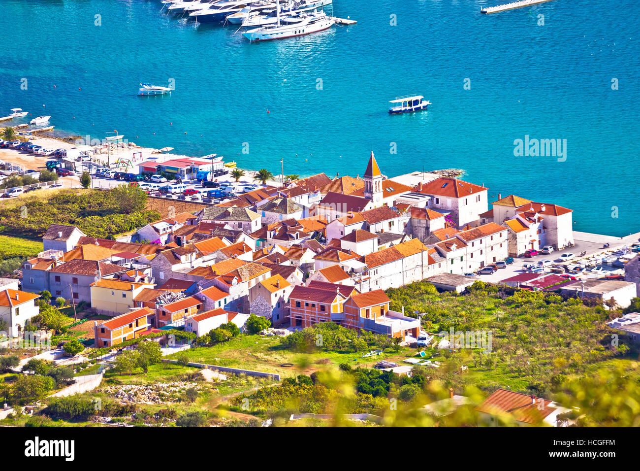 Town of Seget aerial view, Dalmatia, Croatia - Stock Image