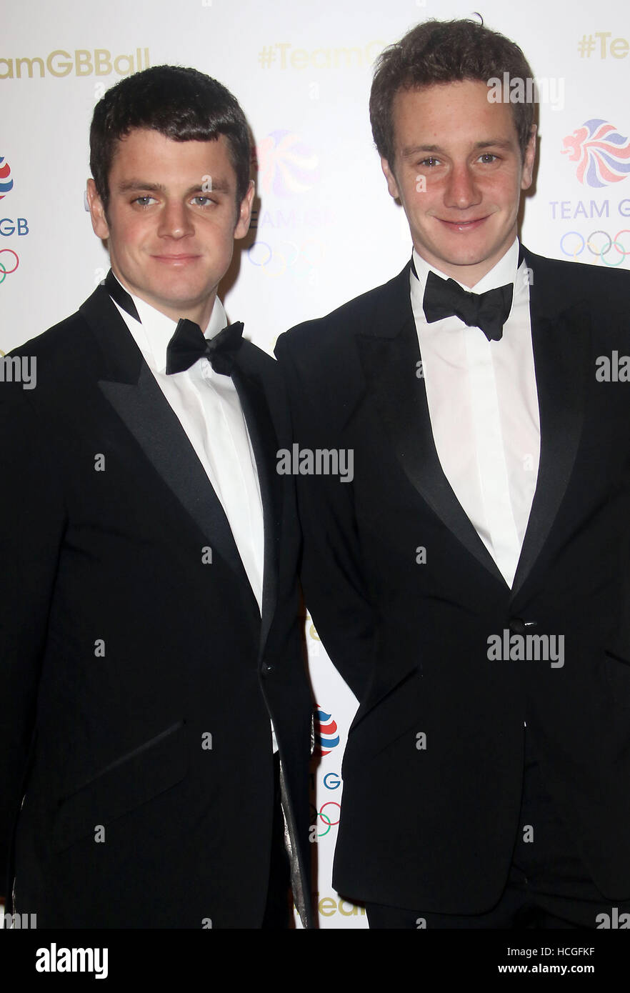 Nov 30, 2016  - Jonathan Brownlee (L) and Alistair Brownlee attending Team GB Ball at Battersea Evolution in London, - Stock Image