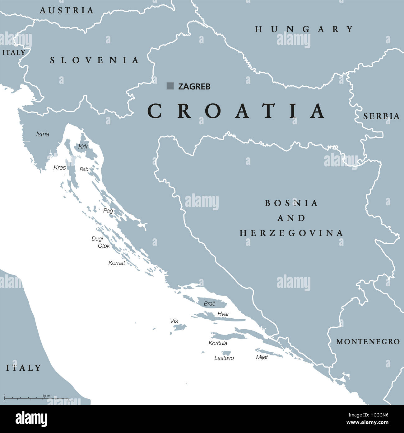 Croatia Political Map With Capital Zagreb National Borders And
