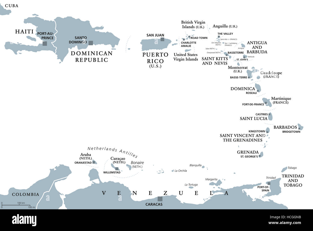 Lesser Antilles Political Map Caribbees With Haiti Dominican Stock