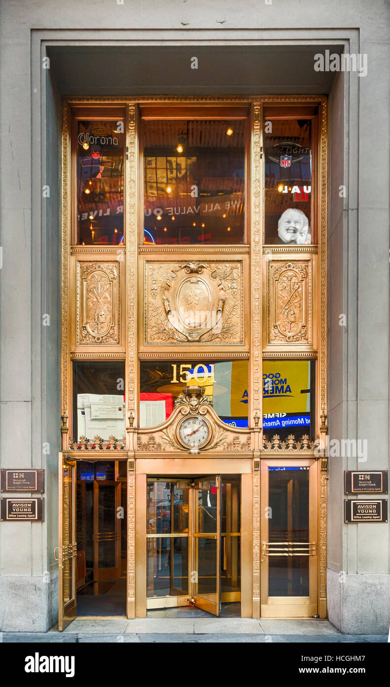 Ornate gold entrance to 1501 Broadway, the Paramount Building, in New York. - Stock Image