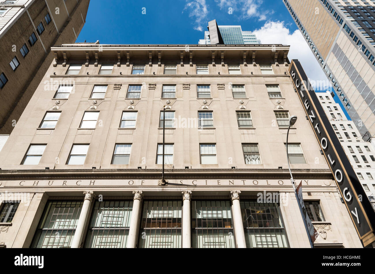 Exterior of the Church of Scientology building (227 W 46th St) in New York City - Stock Image