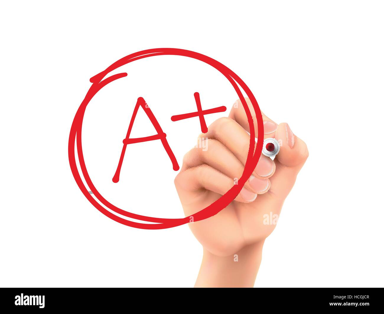 education rating A plus written by 3d hand over white background - Stock Vector