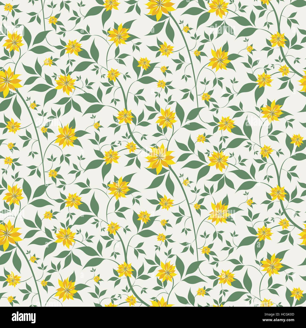 Seamless Floral Background With Small Yellow Flowers Stock Vector