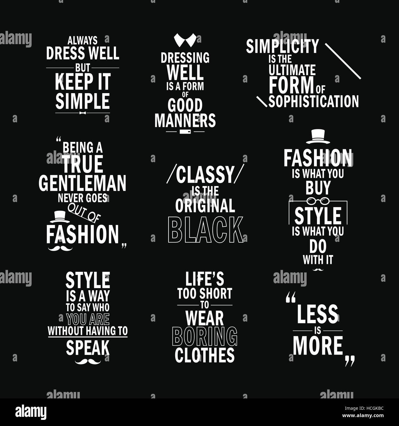 fashion attitude quotes set isolated on black background Stock