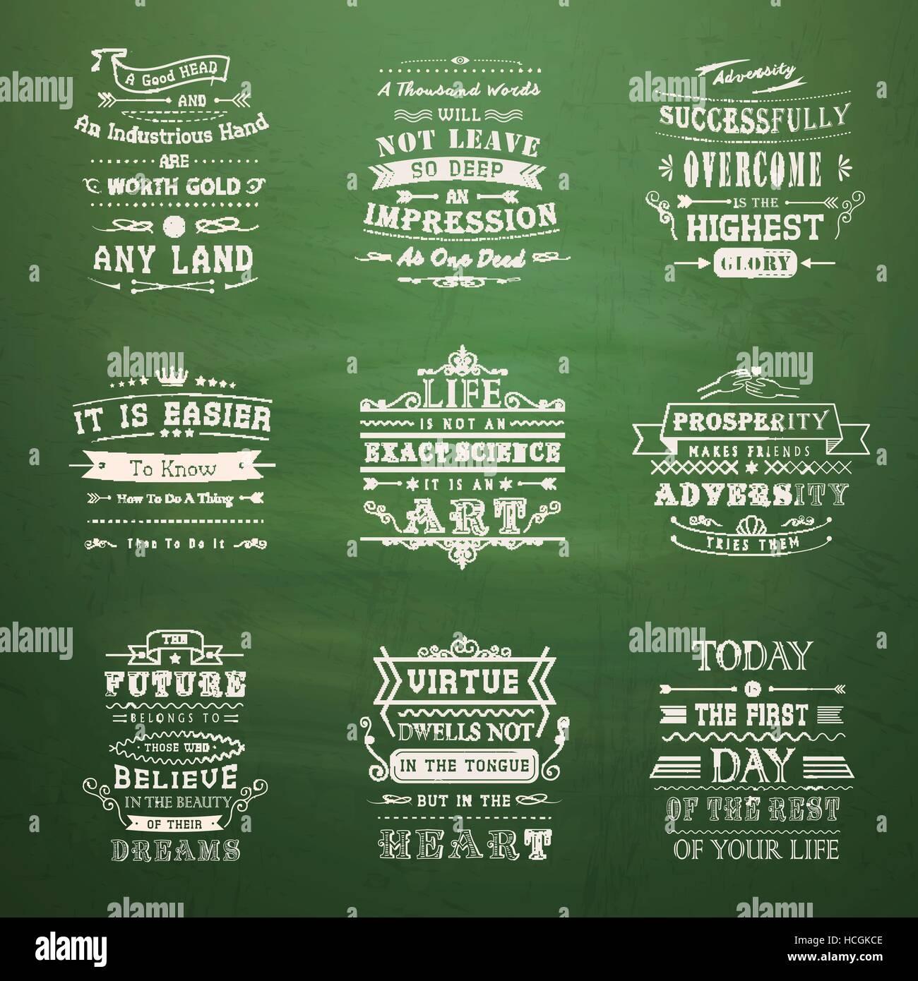 Quotes Typography Retro Set Stock Photos & Quotes Typography Retro ...