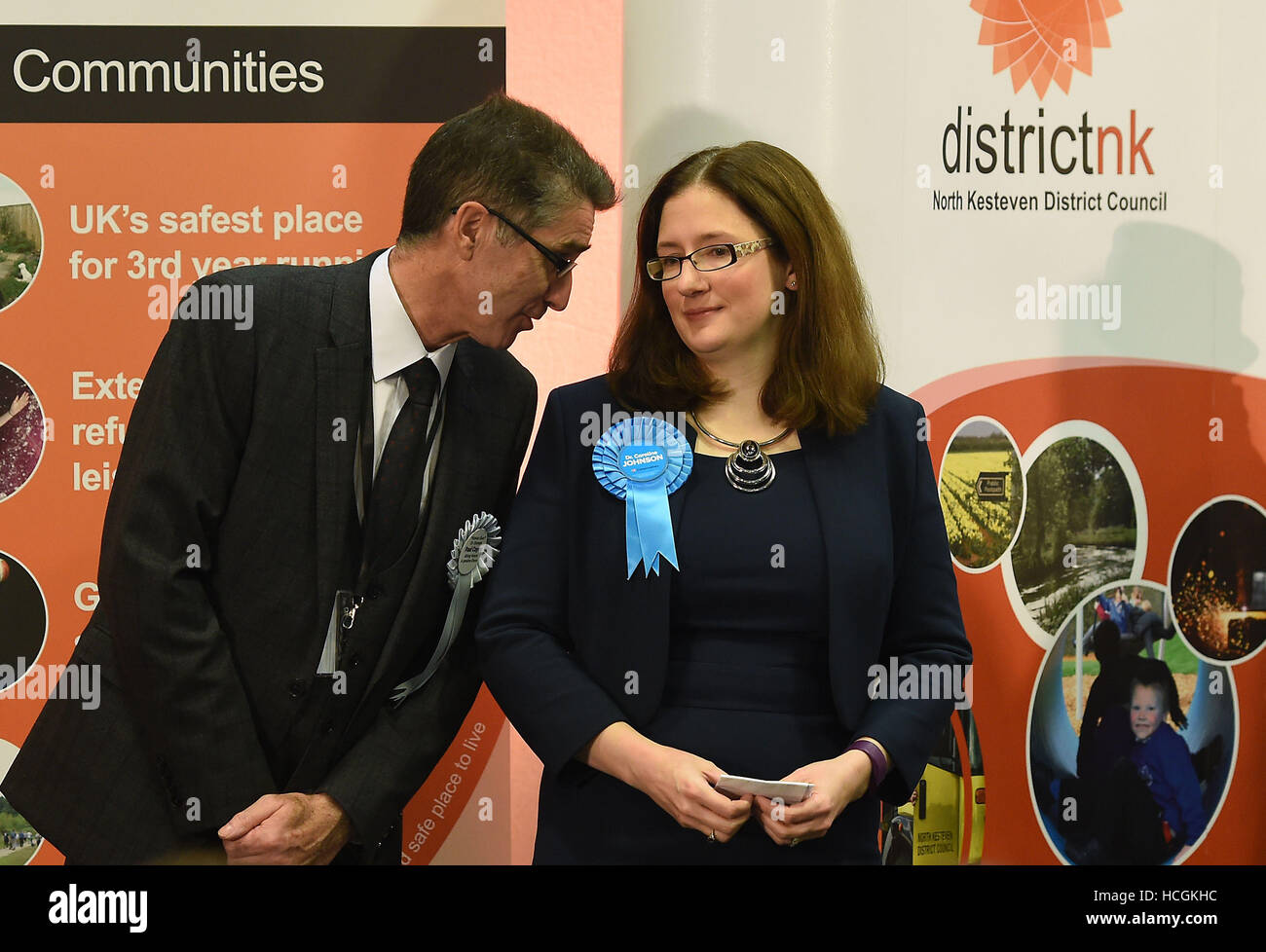 Conservative candidate Dr Caroline Johnson (right) and fellow candidate Paul Coyne at One NK in North Hykeham, Lincolnshire, - Stock Image