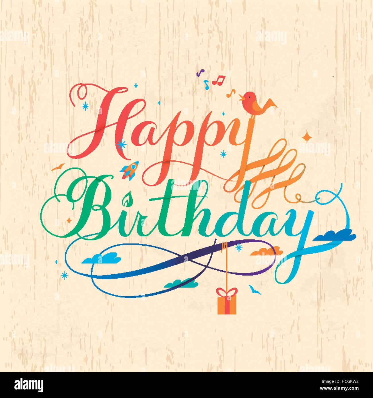 Colorful Happy Birthday Calligraphy Design In Lovely Style