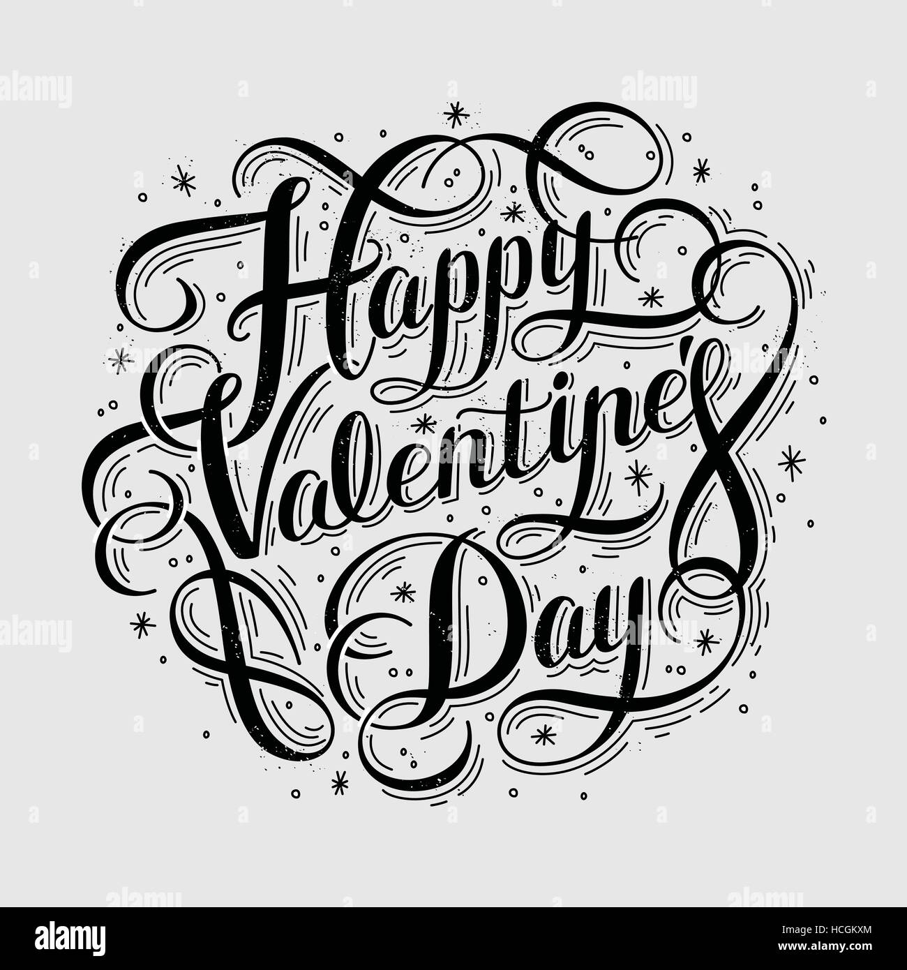 Happy Valentine S Day Hand Lettering Calligraphy Design Stock Vector