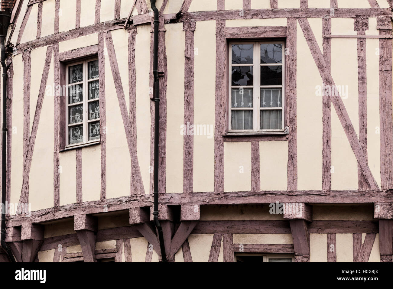 An old half timbered house in old Dijon. - Stock Image